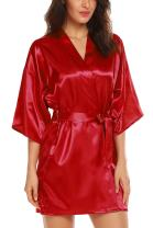 ELOVER Women Bridesmaids Robe Satin Wedding Kimono Bridal Dressing Gown Short Lounge Sleepwear