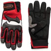 Olsa Tools Mechanic Gloves with TPR Knuckles (S, M, L, XL, XXL) | Mechanics Gloves | Premium Quality Synthetic Leather Gloves | PVC Leather Palm | Oil, Water Resistant Work Glove | Impact Gloves