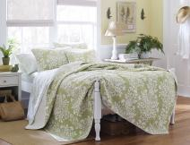 Laura Ashley Home | Rowland Collection | Luxury Premium Ultra Soft Quilt Coverlet, Comfortable 3 Piece Bedding Set, All Season Stylish Bedspread, Full/Queen, Sage