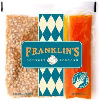 Franklin's Gourmet Popcorn All-In-One Pre-Measured Packs - 8oz. Pack of 10 - Butter Flavored Coconut Oil + Premium Butter Salt + Organic Corn, 100% Vegan - Best Movie Theater Taste – Made in USA