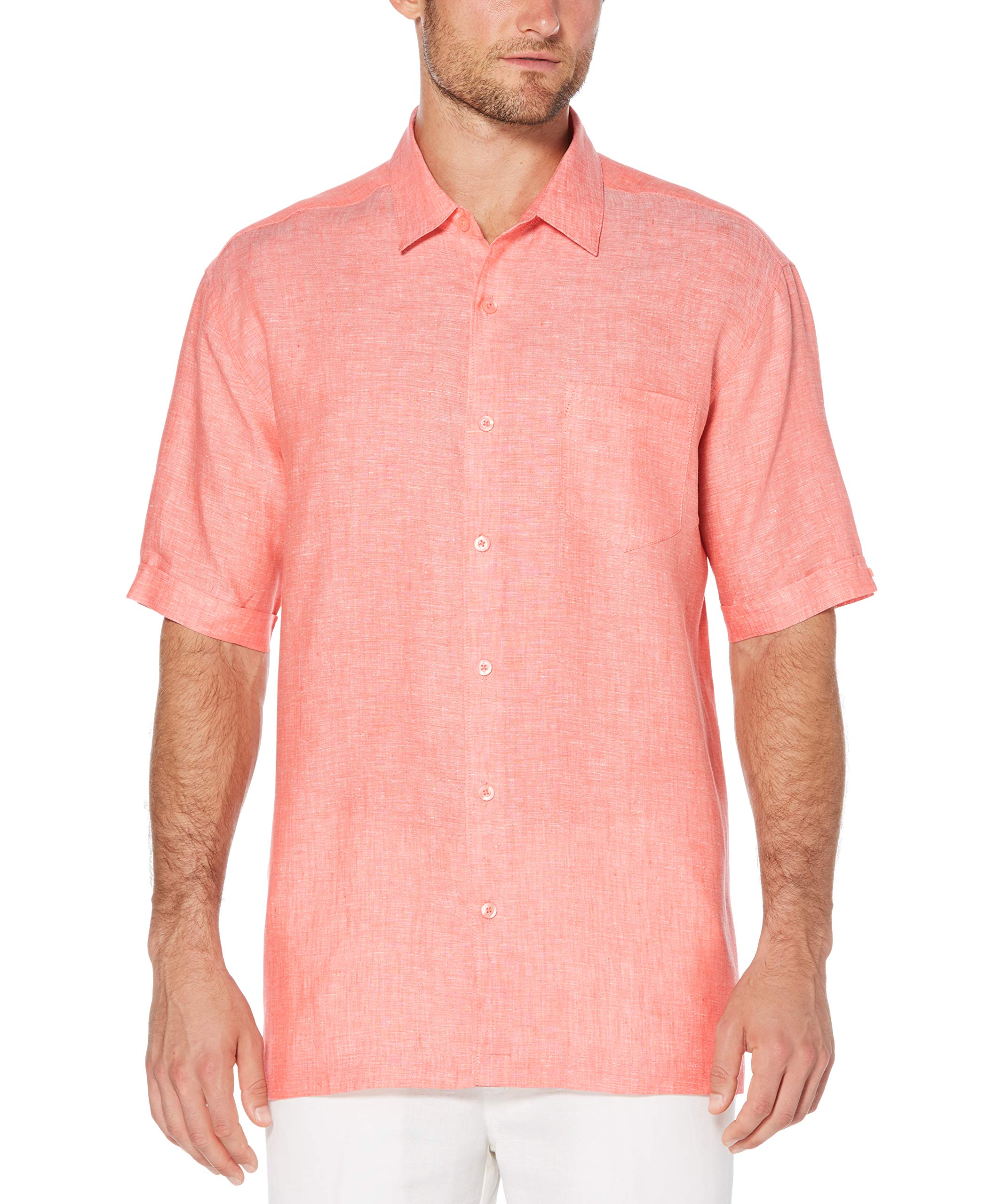 Cubavera Men's Big and Tall Short Sleeve 100% Linen Cross-Dyed Button-Down Shirt with Pocket