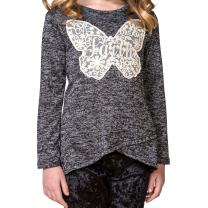 FASHION X FAITH Girls Long Sleeve Shirts - Rianna Marled Hacci Fabric Top Tees Clothes, Made in USA