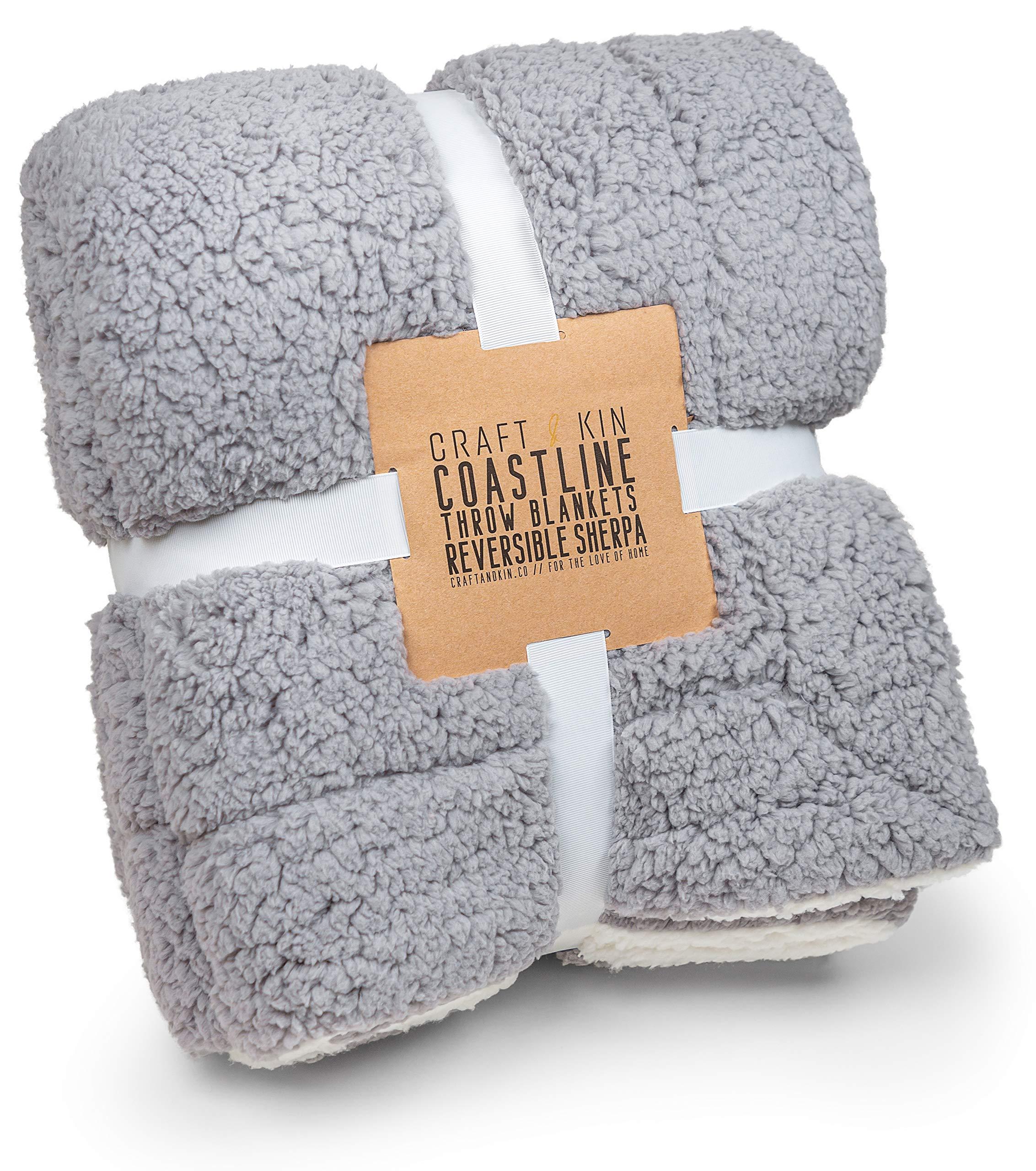 "Dual-Sided Charcoal Grey & White Fleece Throw Blanket, Premium Sherpa Blanket, Cozy Blanket, Fluffy Blanket, Thick Blanket, Soft Blanket, Fuzzy Blanket, Fleece Blanket Fabric (Full Size, 60.5"" x 48"")"