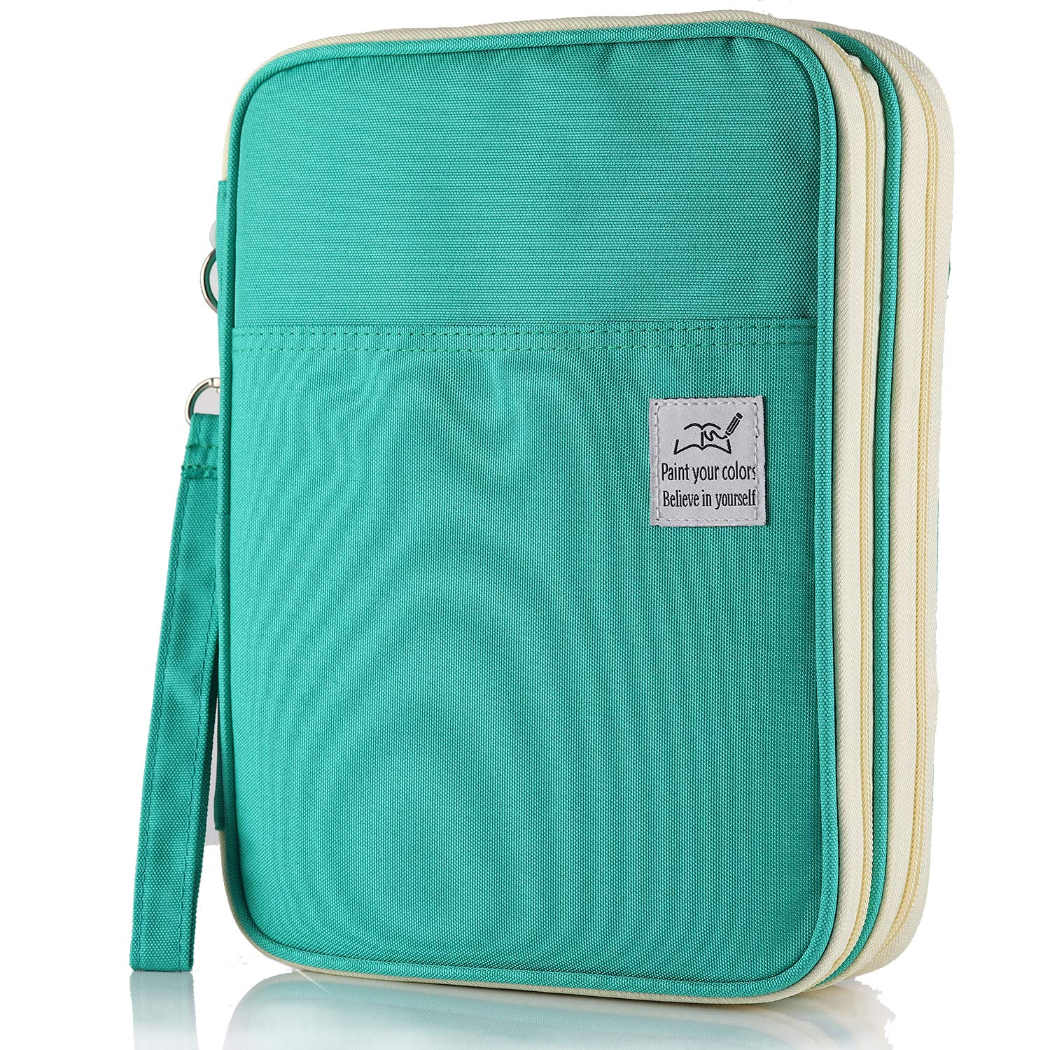 Shulaner Colored Pencil Case Slot Holds 192 Pencils or 144 Gel Pens with Zipper Closure Large Capacity Polyester Pen Organizer for Marker Watercolor Coloring Pencil Gel Pen (Green, 192)
