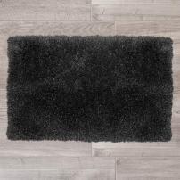 "Nestl Bedding Medium Shaggy Rug with Non-Slip Rubber Backing – Machine Washable Super Soft Microfiber Rug – Plush Absorbent Bath Rug - 20""x32"", Black"