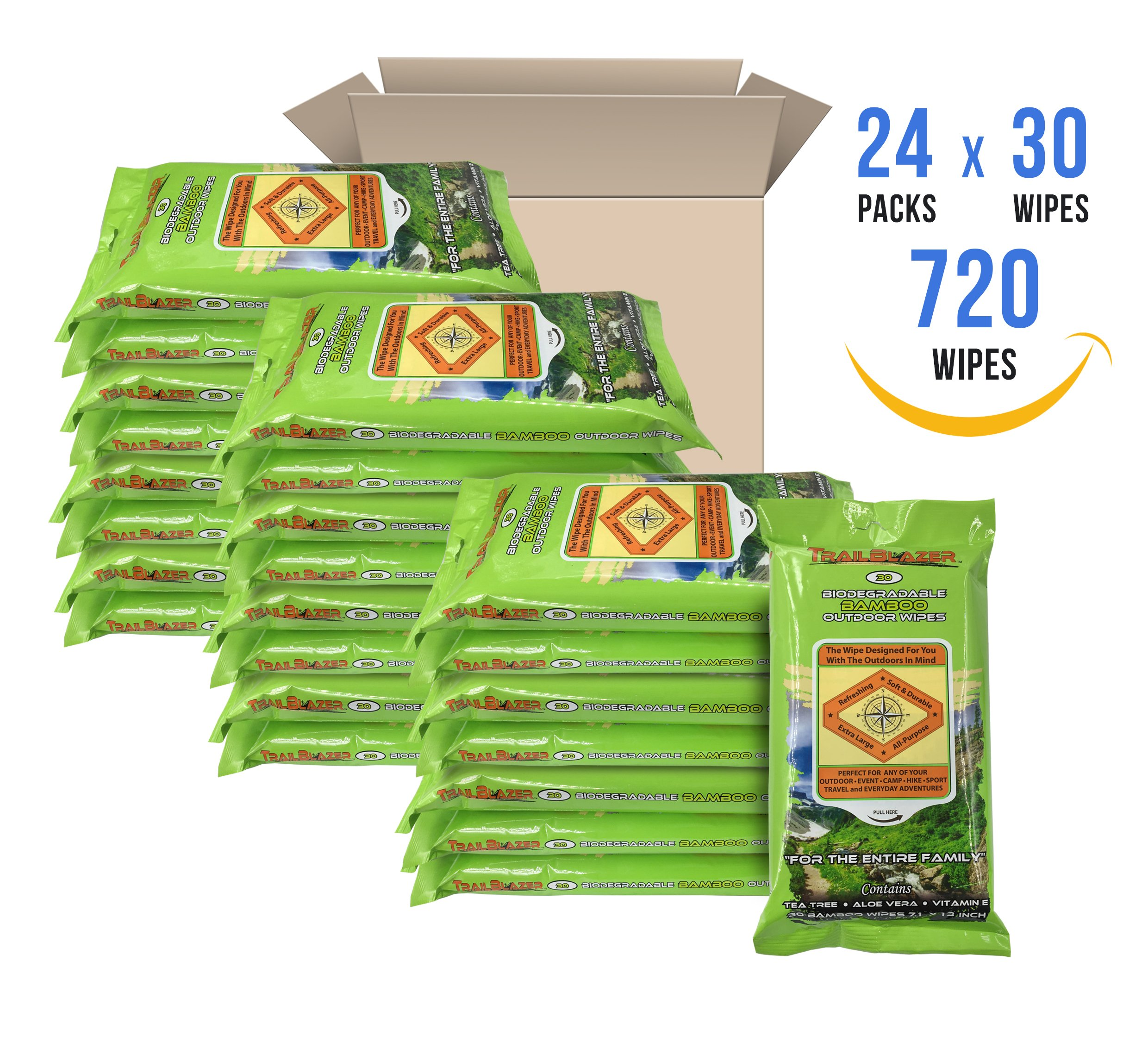 Trailblazer Biodegradable Wet Wipes for No Rinse Bathing and Showers. Great for Camping, Travel, Body Cleansing, Personal Hygiene and Cleaning. Vitamin E and Aloe Enriche (24 Packs)