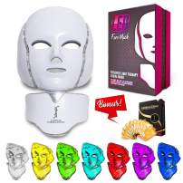 Red Light Therapy LED Face Mask Neck 7 Color | LED Mask Therapy Facial Photon For Healthy Skin Rejuvenation | Collagen, Anti Aging, Wrinkles, Scarring | Korean Skin Care, Facial Skin Care Mask