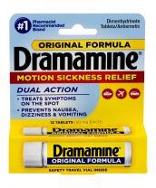 Dramamine Original Formula Motion Sickness Relief, 12 Count,  Pack of 6