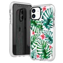 iPhone 11 Clear Case,Green Bahama Leaves with Pink Flowers Floral Daisy Blooms Summer Tropical Trendy Girls Women Sassy Hipster Cute Soft Protective Clear Case with Design Compatible for iPhone 11