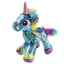 Athoinsu Flip Sequin Stuffed Unicorn Plush Toy with Reversible Glitter Sequins Sparkle Birthday Holiday for Kids Toddlers, Blue, 13''
