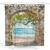 DESIHOM Beach Shower Curtain Summer Shower Curtain Coastal Shower Curtains Tropical Shower Curtain 3d Shower Curtain Beach Theme Shower Curtain Turquoise Polyester Waterproof Shower Curtain 72x72 Inch