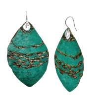Silpada 'Emerald Pools' Oval Drop Earrings in Green Patina Brass & Sterling Silver