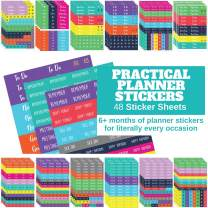 Practical Planner Stickers - Huge Value Pack 48 Sheets, 6 Months of Functional Cute Agenda Journal Stickers for Weekly Planner, Bullet Journals - for planning Goals, Fitness, Habit Tracking, Calendars