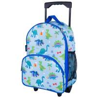 Wildkin Kids Rolling Luggage for Boys and Girls, Carry on Luggage Size is Perfect for School and Overnight Travel, Measures 16 x 12 x 6 Inches, BPA-free, Olive Kids (Dinosaur Land)