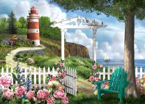 The Jigsaw Puzzle Factory Coastal Lighthouses, Seaside Beach by The Ocean Puzzle Games for Adults, Ages 12 and Up, 1000 Piece, 100% Biodegradable