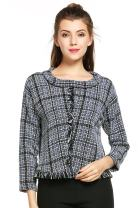 Hotouch Women's Roll Neck Plaid Tassel Pullover Sweater Blouse Tweed Top