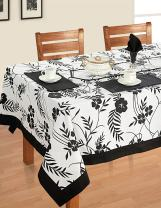 ShalinIndia Black White Cotton Spring Floral Square Tablecloths for Dinning Tables 54 X 54 Inches, Black Border