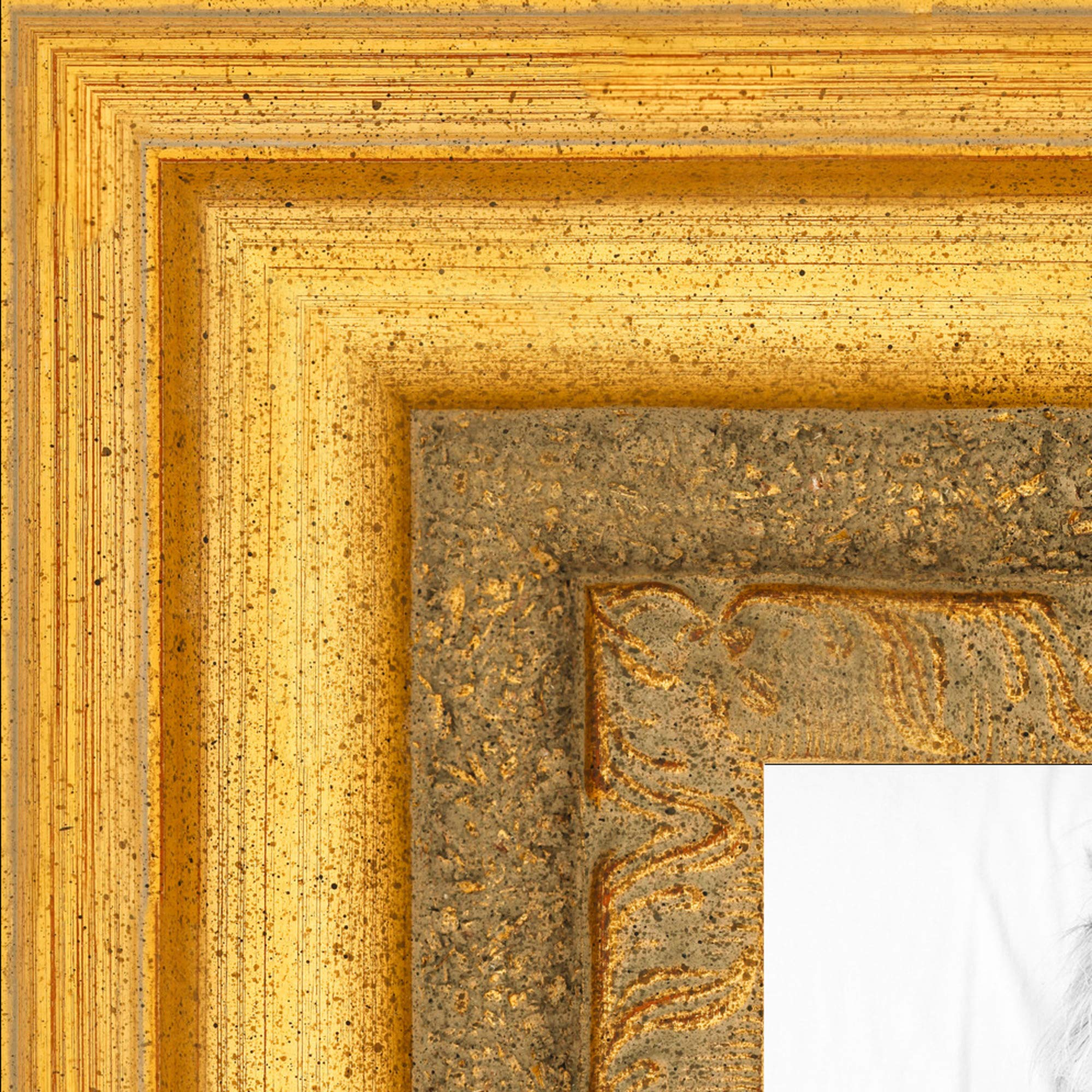 """ArtToFrames 9x10 Inch Gold Picture Frame, This 3.5"""" Custom Wood Poster Frame is Traditional (Real) Gold Leaf, for Your Art or Photos - Comes with Regular Glass, 2WOM1099-9x10"""