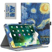 MoKo Case Fit 2018/2017 iPad 9.7 6th/5th Generation/iPad Air/iPad Air 2 Tablet - Slim Folding Stand Folio Cover Case with Document Card Slots, Multiple Viewing Angles, Starry Night