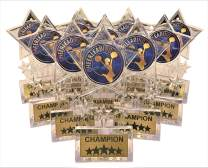 Express Medals 6.5 Inch Clear Acrylic Star Cheerleading Champion Trophy Awards (Pack of 12)