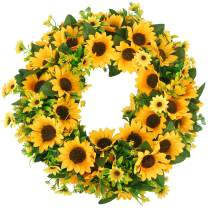 HANTAJANSS Sunflower Wreath for Front Door 20 inches Artificial Sun Flower Greenery Garland for Home Decoration, Spring & Summer Kitchen Decor