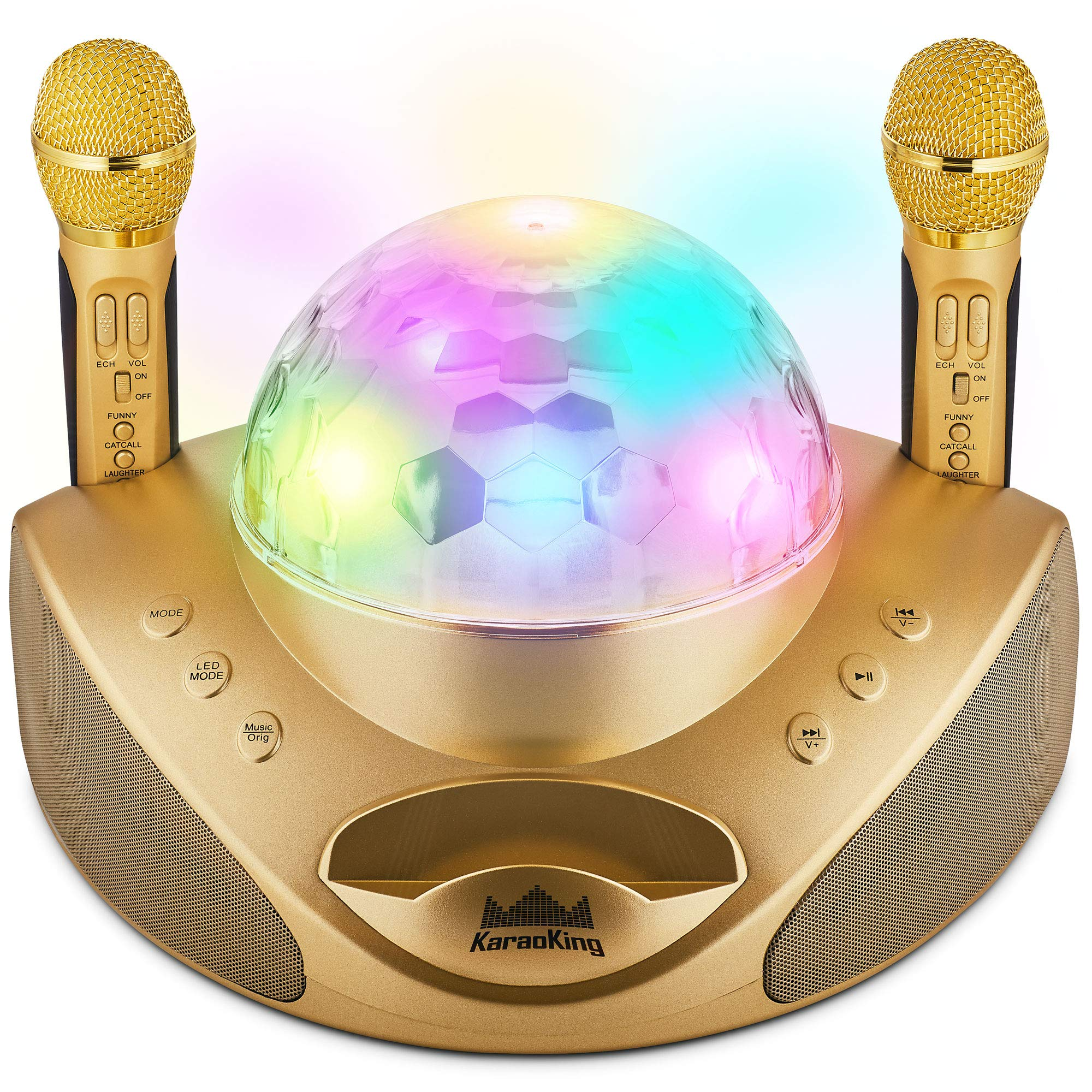 KaraoKing New 2020 Karaoke Machine – for Adults and Kids –2 Wireless Karaoke Microphone, SD Card, USB, Bluetooth Compatible, Lights Function– Home, Bachelor Party, Picnic, Outdoor/Indoor [G308 Gold]