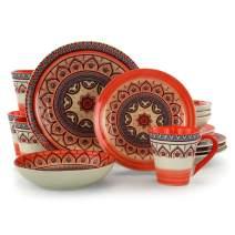 Elama Mandala Round Stoneware Multicolor Dinnerware Set, 16 Piece, Orange