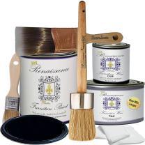 Retique It Chalk Finish Paint by Renaissance - Non Toxic, Eco-Friendly Chalk Furniture & Cabinet Paint - Deluxe Starter Kit, Midnight Black