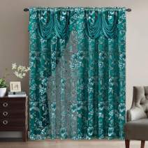 GOHD Golden Ocean Home Decor Roman Romance. Burnt-Out Printed Organza Window Curtain Panel Drape with Attached Fancy Valance and Taffeta Backing (Teal Green, 55 x 84 inches + Attached Valance x 2pcs)