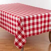 """SARO LIFESTYLE Cotton Blend Buffalo Plaid Tablecloth, 70"""" x 180"""", Red/White"""