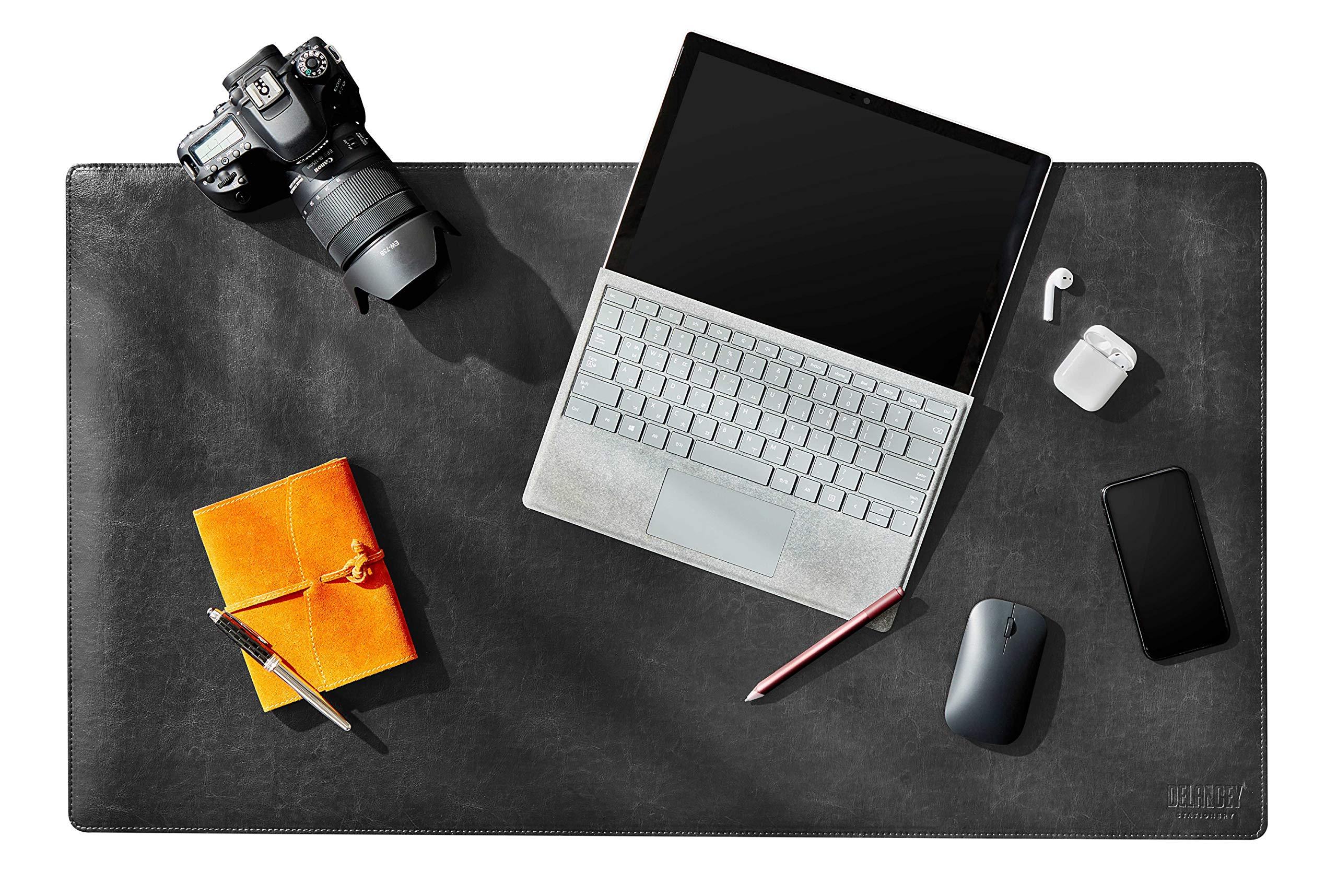 Delancey USA 36 x 20 Inches Black Office Desk Pad, Leather Desk Blotter Pad, Desk Mat Protector