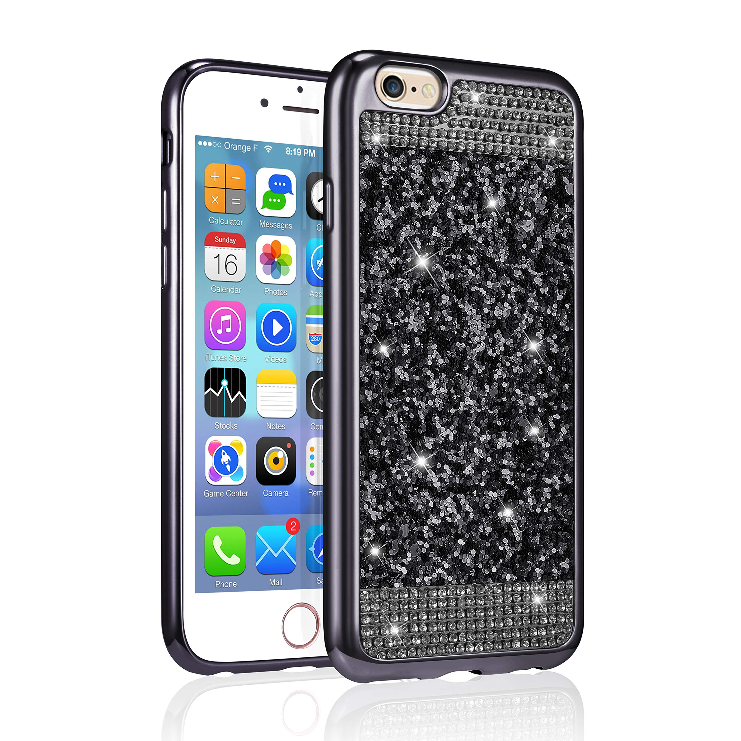 ZCDAYE Case for iPhone 5 5S SE,Bling Glitter [Crystal Rhinestone Diamond] Soft TPU Rubber Silicone [Electroplating Edge] Shockproof Protective Back Case for iPhone 5/5S/SE - Black