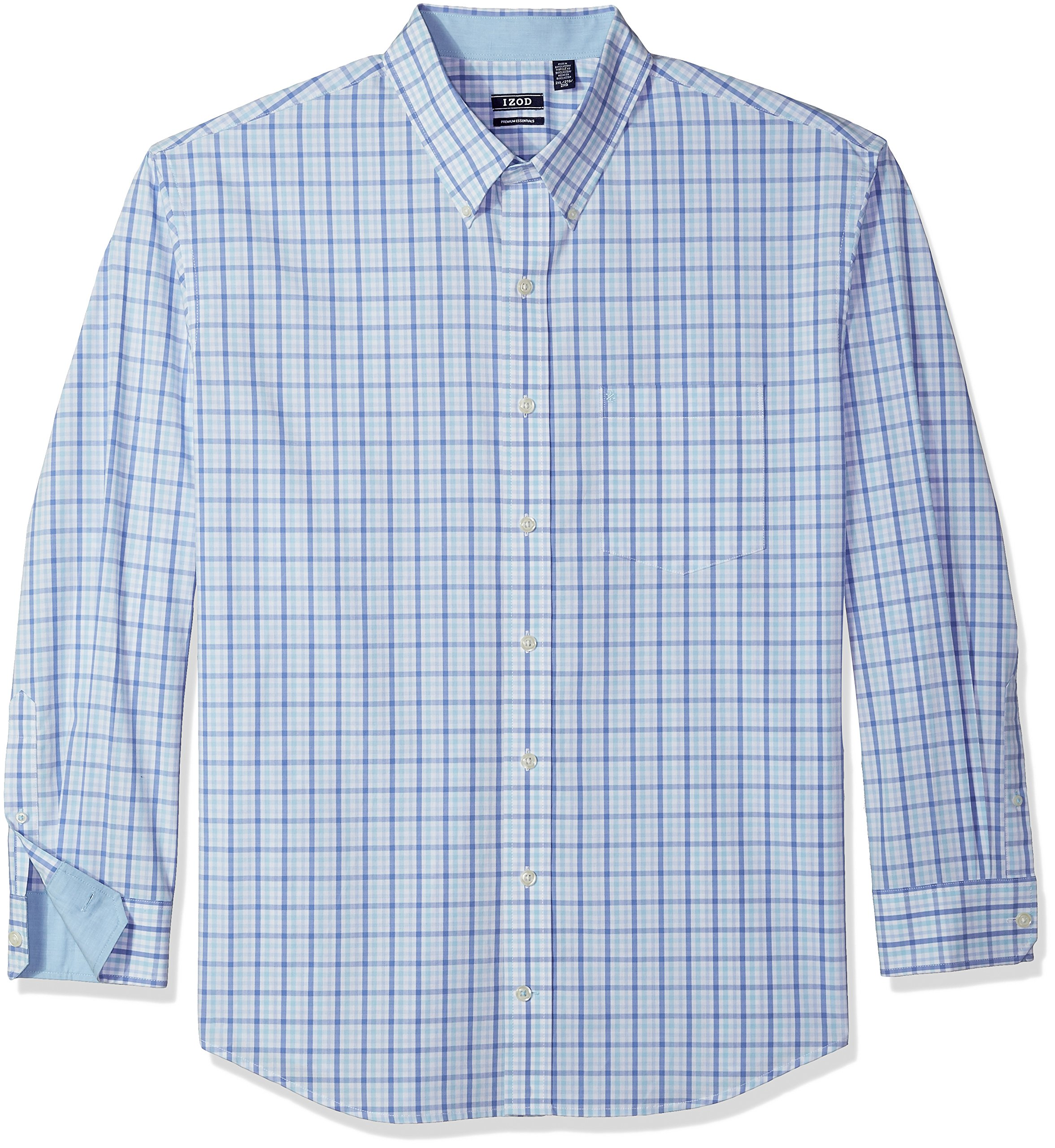 IZOD Men's Big and Tall Button Down Long Sleeve Stretch Performance Tattersal Shirt