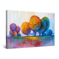 "Startonight Canvas Wall Art Abstract Rainbow Trees Painting Red Blue Golden Framed 32"" x 48"""