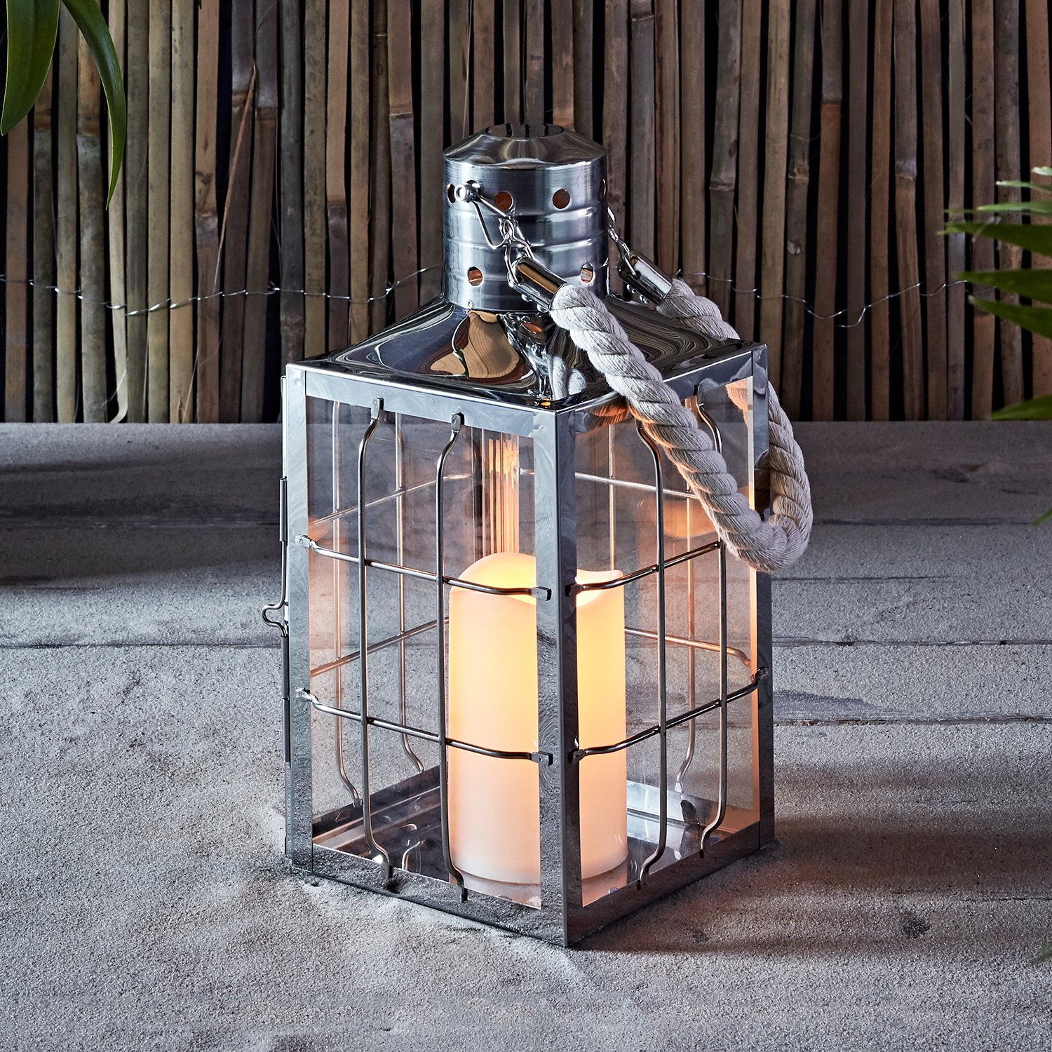"""Lights4fun, Inc. 12"""" Stainless Steel Maritime Battery Operated LED Indoor Flameless Candle Lantern"""
