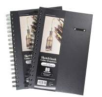 """LYTek Hardcover Sketch Books, 2 Pack 6""""x 9"""" Premium Sketchbook with Spiral Wire and Pencil Loop, Total 160 Sheets of Sketch and Drawing Pads, Acid Free Paper Pad"""