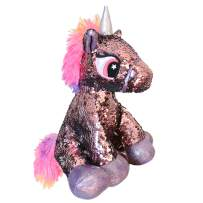 Athoinsu Flip Sequin Stuffed Unicorn Plush Toy with Reversible Sparkle Sequins Birthday for Kids Toddlers, Pink, 11