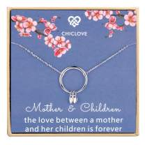Mother 2 Children Necklace - Sterling Silver Circle Necklace with 2 Hearts Pendant, Mothers Day Jewelry Gift