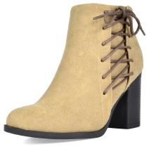 TOETOS Women's Chicago Chunky Heel Ankle Booties