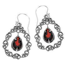 PZ Paz Creations 925 Sterling Silver Lace Teardrop Gemstone Dangle Earrings