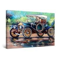 "Startonight Canvas Wall Art Abstract Retro Blue Car Painting Framed 32"" x 48"""
