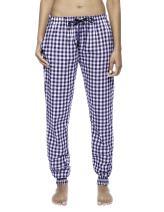 Women's Premium Flannel Jogger Lounge Pants - Gingham Blue/Heather - X-Large