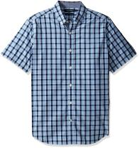 Nautica Men's Short Sleeve Large Plaid Button Down Shirt