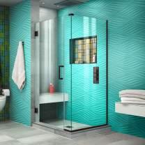 DreamLine Unidoor Plus 35 in. W x 34 3/8 in. D x 72 in. H Frameless Hinged Shower Enclosure in Oil Rubbed Bronze, SHEN-24350340-06