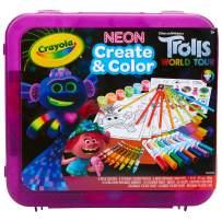 Crayola Trolls World Tour, Neon Create & Color Art Set, Over 70 Art Supplies, Gift for Kids, 5, 6, 7, 8, Multi