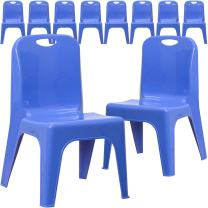 Flash Furniture 10 Pk. Blue Plastic Stackable School Chair with Carrying Handle and 11'' Seat Height