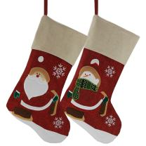 WEWILL Classic Christmas Stockings Set of 2 Santa, Snowman Xmas Character 17-Inch (Style 3)