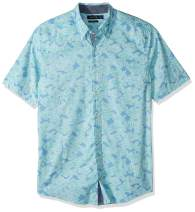 Nautica Men's Big and Tall Short Sleeve Fish Print Stretch Cotton Button Down Shirt