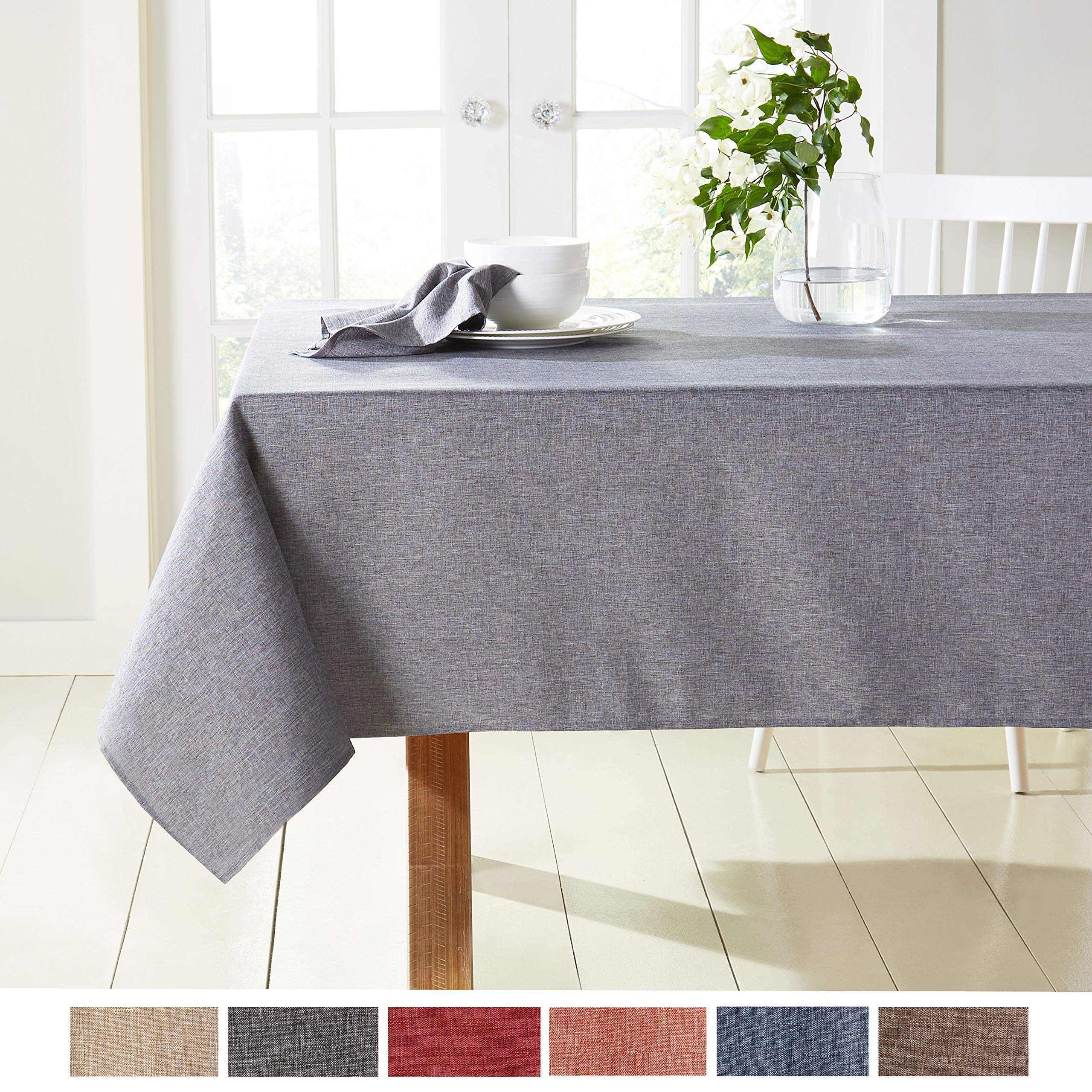 Town Country Living Somers Modern Farmhouse Tablecloth Picnic Indoor Outdoor Stain Resistant Machine Washable Polyester 60 X144 Rectangle Brown