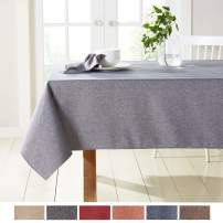 "Town & Country Living Somers Modern Farmhouse Tablecloth, Picnic/Indoor Outdoor/Stain Resistant/Machine Washable Polyester, 60""x160"" Rectangle Charcoal"
